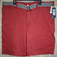 NEW LEE Khaki Shorts 5 pocket Flat zip front Button Pockets Red 42W 100% Cotton