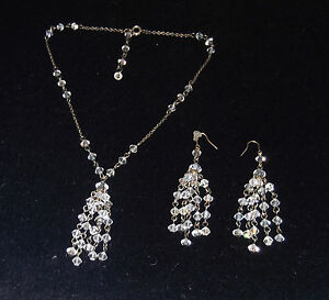 STERLING SILVER CRYSTAL NECKLACE & EARRING SET, BRAND NEW, handcrafted,AUSTRALIA