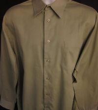 Pronto Uomo Mens Button Front Long Sleeve Designer Green Shirt 16 1/2