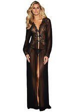 Black Sheer Long Sleeve Lace Robe with Thong Size UK 8-10