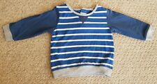 Matalan 9-12 months long sleeve blue striped top with buttons on back