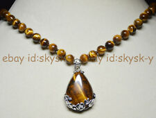 "8MM GENUINE TIGER'S EYE GEMS STONE ROUND BEADS NECKLACE DROP PENDANT 18"" AA"