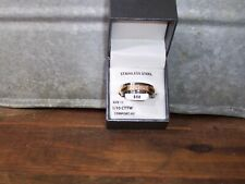 MENS STAINLESS STEEL 1/10 CT WEDDING RING SIZE 11 GOLD AND SILVER COLOR JEWELRY