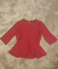 primark atmosphere maroon burgundy purple peplum crepe top stunning size 8