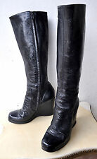 L'AUTRE CHOSE Patent Leather Knee High Wedge Boots Sz 39.5 Italy SOLD OUT! RARE!