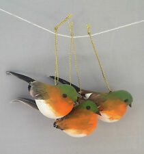 Set di tre uccellini da appendere Robin DECORAZIONE ALBERO DI NATALE