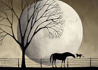 Print of folk art painting A GENTLE PAW horse black cat silhouette moon pets DC