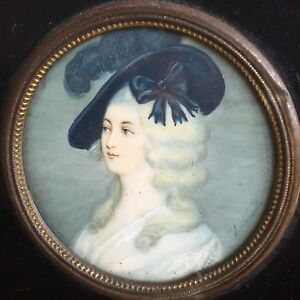 Antique 19th Century Painted Portrait Miniature Of A Pretty Young Lady, Signed.