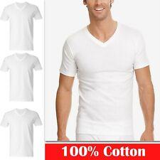 3, 6 PC Mens 100% Cotton V-Neck Tagless T-Shirt Undershirt White S-XL