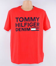 TOMMY HILFIGER Men's Red Cotton T-shirt with Logo Print, size L