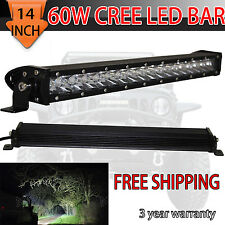 Single Row 14''inch CREE LED Light Bar COMBO offroad 4WD boat UTE driving ATV