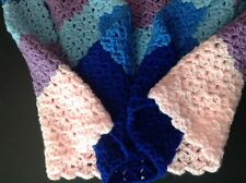 "Handmade Afghan Pastel Knit Wheelchair Baby Lap 28x41"" Crochet Throw Blue Pink"