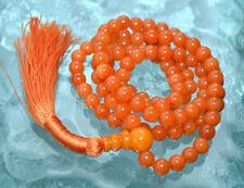 108 Orange Jade Handmade Mala Beads Necklace - Blessed & Energized Karma Nirvana