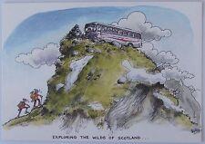 "Cartoon postcard ""Exploring the wilds of Scotland"""