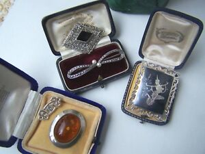 VINTAGE STERLING SILVER ONYX PEARL TOPAZ AMBER MARCASITE SIAM NIELO BROOCH RARE