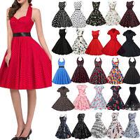 Damen Rockabilly Kleid 50er Swing Petticoat Vintage Hepburn Party Tanzkleider
