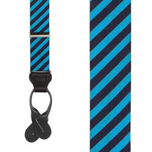 Blue Silk Diagonal Stripe Suspenders