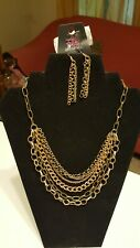 Brass Necklace w/ free matching earrings. Paparazzi Word On The Street Gold &