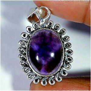 Natural Amethyst Cabochon Gemstone With Silver Plated Pendant Jewelry H708