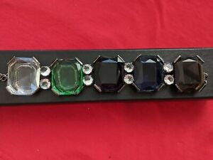VINTAGE STATEMENT MULTICOLOURED GLASS BRACELET MADE IN ITALY SIZE 17X3 cm