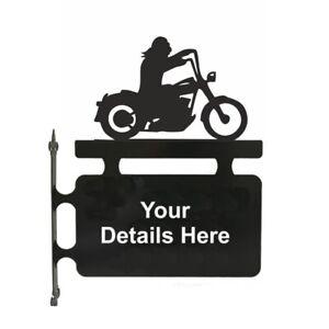 Biker Hanging Sign- Outdoor Black Metal House Sign