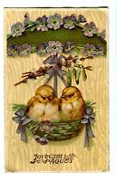 CPA Fantaisie Joyeuses Pâques oiseaux et nids carte rellief