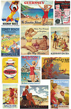 12 Reproduction Vintage Luggage Suitcase Labels Stickers - Seaside No.3
