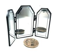 Dolls House 1/12 scale Black 3 Way Mirror Lovingly Made by BUSHBABY
