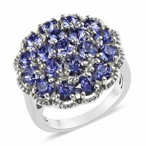 Tanzanite Swarovski Crystal Ring in Platinum Bond Brass (Size 5.0)