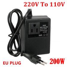 Voltage Converter Transformer 220V to 110V Ac 200W Step Down Eu Plug Travel #!