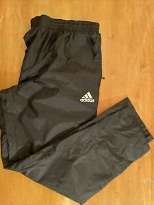 ADIDAS Mens LARGE Black Athletic Track Windbreaker Nylon Pants Mesh Lined Zip