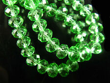 100Pcs Lt Green Crystal Glass Faceted Rondelle Beads Spacer Craft Finding 4mm