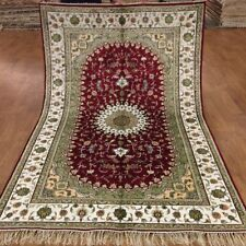 YILONG 5'x8' Red Classic Silk Area Rug Oriental Hand Knotted Floral Carpet 371C
