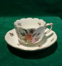 Vintage Herend Hungary Hand Painted Porcelain Cup & Saucer Floral Gold Signed