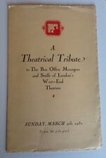 1930 A THEATRICAL TRIBUTE BOX OFFICE DINNER PROGRAMME AT THE SAVOY HOTEL