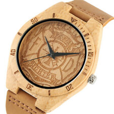 Hot Fire Fighter Bamboo Men Quartz Wrist Watch Genuine Leather Band Bangle Gift