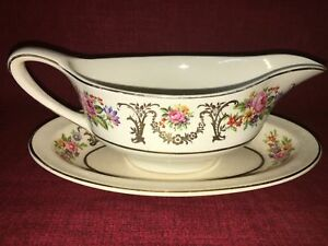 Johnson Bros gravy boat plate PAREEK Marlborough shabby chic cabbage rose floral