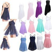 Kids Girls Ballet Lyrical Dance Dress Irregular High-low Skirt Modern Dancewear
