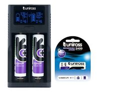 UNiROSS FAST SMART CHARGER DUO LCD Li-ION for 18650,18350,RCR 123A + 3 x 18650
