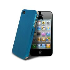 Coque Housse Etui Metal Brush Alu Ultra-Fine 0,3 mm Pour iPhone 4/4S Bleue