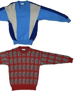 Two STEFFNER AUSTRIA Vintage Alpaca Wool 90s Retro Ski Pullover Sweaters M/L VTG