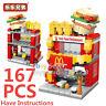 City Street Burger Restaurant Mini Blocks Building Brikcs View Model Toy