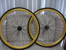 FIXIE Fixed Road Bike Flip-Flop BICYCLES WHEEL RIM TIRE Front & Rear Gold