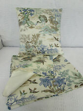 Cushion Cover, Water Gardens, Birds, Flowers, Blues, Greens, Beige, Cotton.