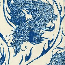 Asian ORNATE DRAGONS Year of the Ninja FABRIC FQ Chinoiserie FAR EAST Blue WHITE