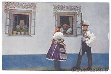 POSTCARD antique color photo Czech folk costume ethnic type Kyjov painted house