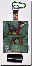 Dog Waste /Poop Bag Holder & Belt Clip, Designer Dog Theme Fabric,Grommet Hole,