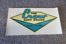 Vintage The Crow Surfboards Surfside California Water Slide Decal 1960's