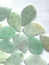 24  Genuine Apple Jade Carved Leaves w/ Front to Back Drilled Hole - 20x13mm