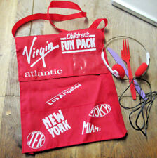 VINTAGE VIRGIN ATLANTIC AIRLINE CHILDRENS FUN PACK BAG RED WITH EARPHONE